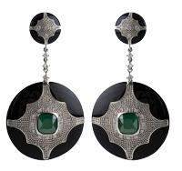 Black Deco Jewel Earrings